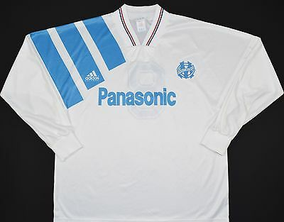 1991-1992 Olympique Marseille Adidas Home Football Shirt (Size L)