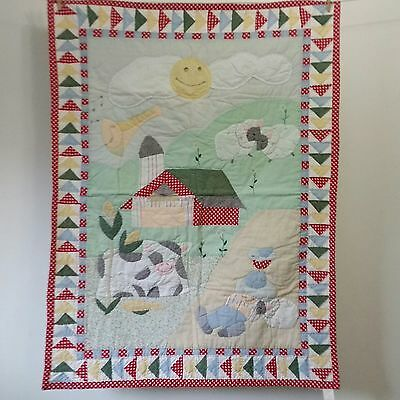 Cheerful Farm Applique Patchwork Quilt Baby Crib Blanket Nursery 36 x 50