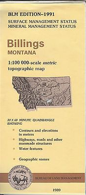 USGS BLM edition topographic map Montana BILLINGS 1991 mineral