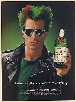 1988 Tanqueray Gin Guy Green Red Hair Imitation is Sincerest Form of Flattery Ad