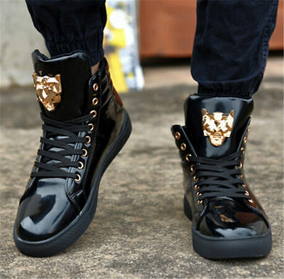 Fashion Mens Round Toe High Top Sneakers Casual Lace Up Skateboard Shoes