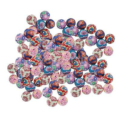 100pcs Floral Polymer Clay Balls Round Beads Craft Findings