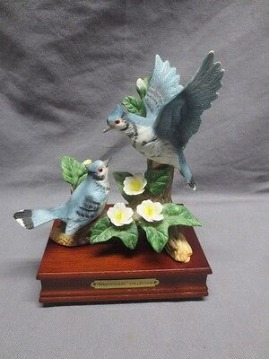 Vtg Westminster Porcelain Blue Jays Figurine with Music Box Wood Base