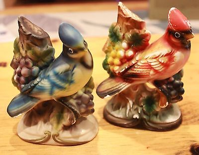 Vintage Japan Ceramic Bird Figurines Blue Jay Cardinal Grapes