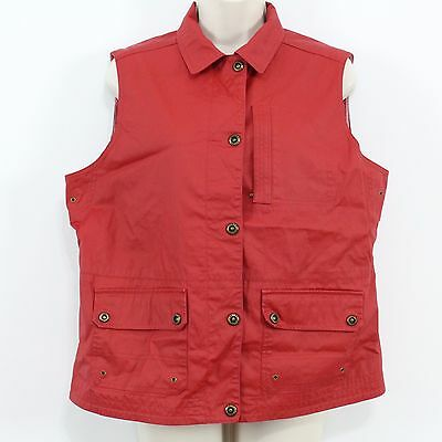 Lauren Naval Supply Co Red Nautical Lined Button Vest Jacket Women's Size L