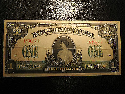 1917 DOMINION OF CANADA $ 1 ONE DOLLAR BOVILLE DC-23a-i 183637-H