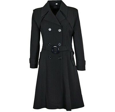 """Womens New Double Breasted Coat Fit and Flare Ladies Mac Trench  42"""" inch lenght"""