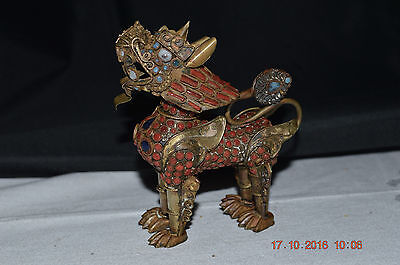 Vintage Brass Foo Dog with Removable Head