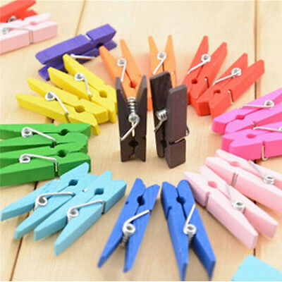 New 50pcs Mini Natural Wooden Clothes Photo Paper Peg Clothespin Craft Clips FOU
