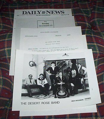 Desert Rose Band Chris Hillman  1987 promo pack Glossy Photo & 4 pages notes