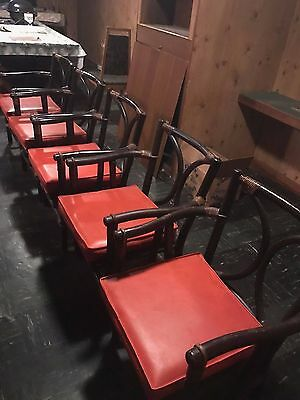 Vintage Set Of (5) Ficks Reed Company Mid Century Modern Rattan Arm Chairs