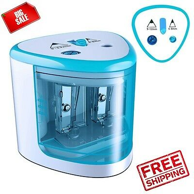 Electric Pencil Sharpener Automatic Touch Battery Personal Kids School Home Blue