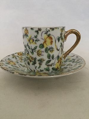 Vintage Inarco Yellow Rose Chintz Pattern Demitasse Cup And Saucer Set - Sweet