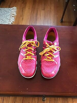Women's Size 9 Adidas Pink Tennis Shoes With Orange Laces