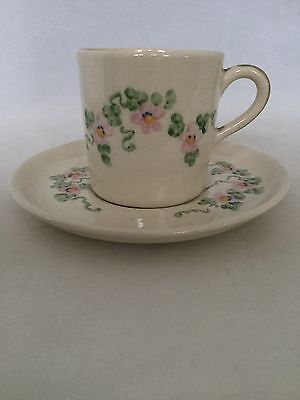 Vintage Cream Colored Demitasse Cup And Saucer Set W/ Pink Floral - Super Sweet!