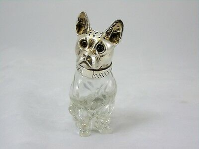 Antique Silver White Metal & Glass Hat Pin Holder in Form of Bull Terrier
