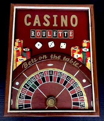 """Very Cool Vintage Casino Roulette 3D Wood Wall Sign 21""""x16"""" Game Room Gambling"""