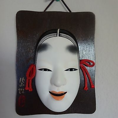 Japanese Vintage Pottery Woman Mask On Wood Signed