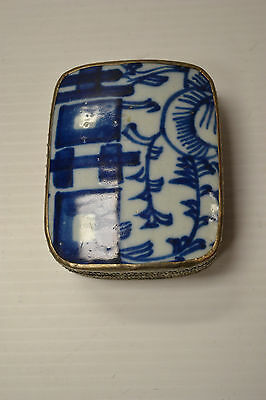 Blue & White  Happiness Porcelain Shard Jewelry Box 73-199