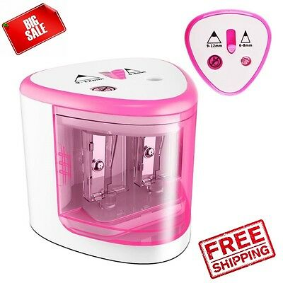 Electric Pencil Sharpener Automatic Touch Battery Personal Kids School Home Pink