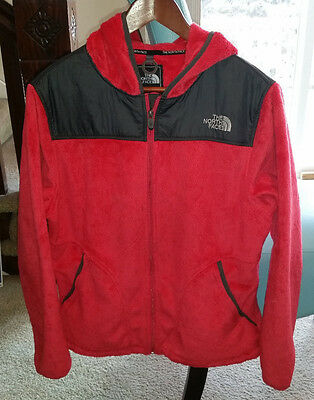 The North Face Women's Plush Fleece Red Zip Up Hooded Jacket Size L
