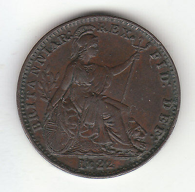 1822 Great Britain George IV Farthing Coin. Nice Grade.