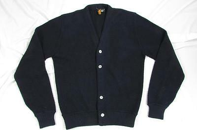 Vtg 60s Bambergers Black Color Orlon Acrylic Cardigan Sweater Mod Hollywood 50s