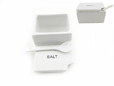 Ceramic Salt Dispenser /Container with Ceramic Spoon