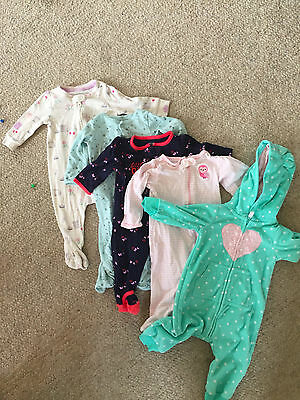lot of girls 3-6 month footed pajamas