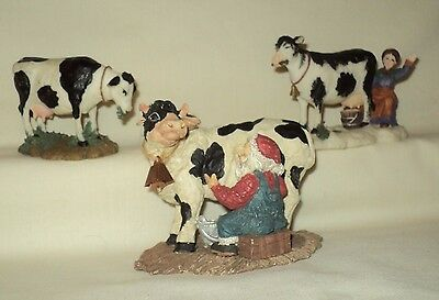 Ceramic/Resin Cow Figurine LOT OF 3 ~ O' Well ~ 1 with Cow Bell