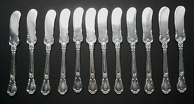 "Set of 12 Gorham Chantilly Sterling Silver Butter Knives Flat Handled 6"" long"