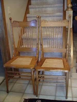 SET 2 Antique Victorian pressed back chair spindles cane seat