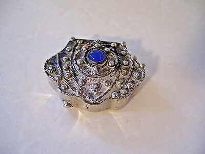 Italian Silver Pill Box with Lapis Stone