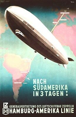 Vintage German Zeppelin Poster 11 by 17 glossy