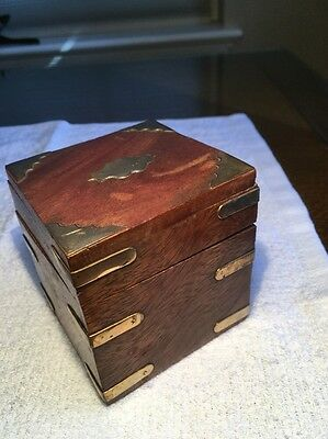 Nice Older Walnut Wooden Tea Box With Brass Accents.