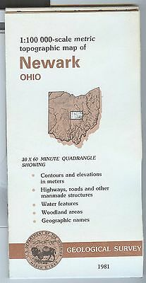 US Geological Survey topographic map metric NEWARK Ohio 1981 - warped