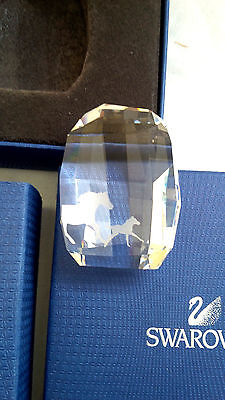 Swarovski SCS Members Annual Horse Plaque Paperweight Crystal Glass with Box