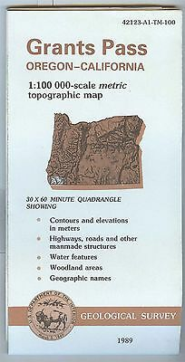 US Geological Survey topographic map metric GRANTS PASS Oregon California 1989