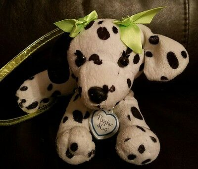 Poochie and Co. Plush Dalmation Puppy Dog Purse Green Sequence Girls