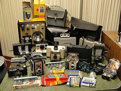 Lot Of Vintage Camera, Leather Cases, Accessories Parts/repair