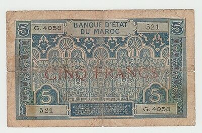 Morocco French 5 Francs 1924 G-VG RARE Banknote P 9