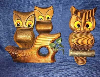 Set 2 Vintage 60's OWL FAMILY Wall Art HAND CARVED CRYPTOMERIA WOOD Home Decor