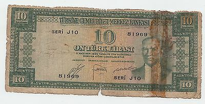 "Turkey 10 Lira 1930 ""g"" P 156"