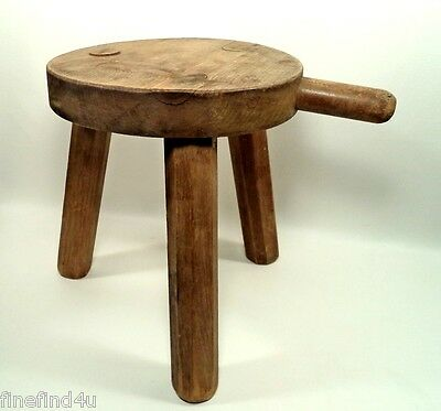 Antique Primitive Handcrafted Wood 3 Leg Milking Stool w/ Handle