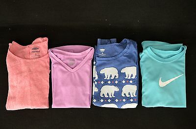 Girls Tops Lot of 4, Size 7/8 & 8 OLD NAVY NIKE CHAMPION SHORT & LONG SLEEVE