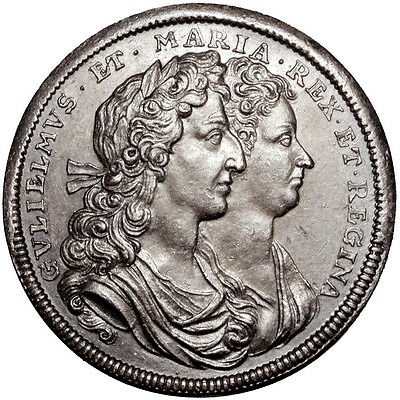 William & Mary. Coronation medal in silver. 1689.   Good Extremely Fine..  7196