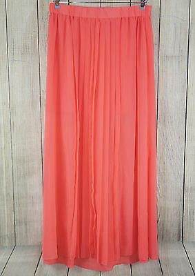 Mossimo Women's XS Sheer Maxi Skirt Pleated BOHO Coral Red