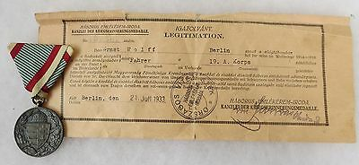 ORIGINAL Vintage HUNGARIAN 1914-1918 WW1 SERVICE MEDAL with Named AWARD DOCUMENT