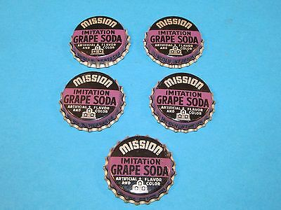 5 Vintage MISSION GRAPE Soda Pop Bottle Cork Lined Cap Crown Lincoln Nebraska