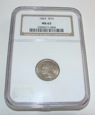 1865 3 Cent Nickel Ms 63 Ngc Free Shipping